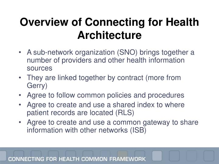 Overview of Connecting for Health Architecture