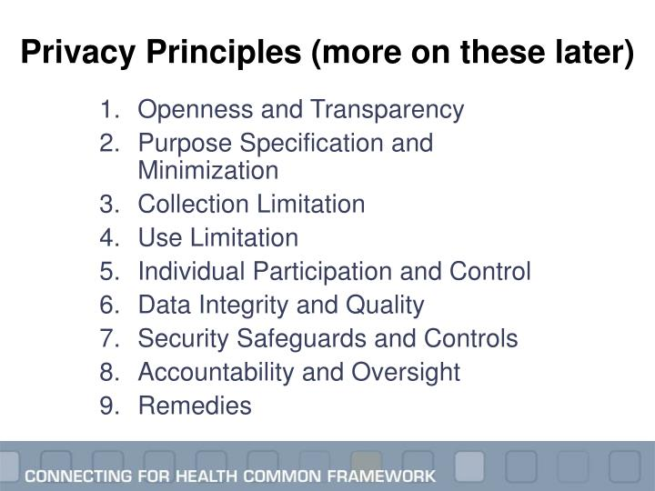 Privacy Principles (more on these later)