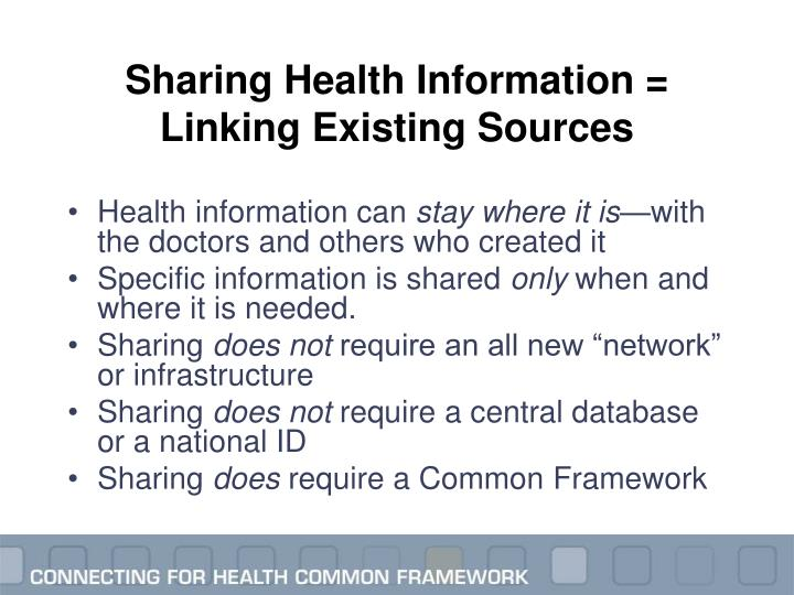 Sharing Health Information = Linking Existing Sources