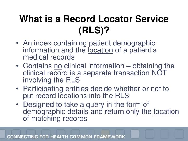 What is a Record Locator Service (RLS)?