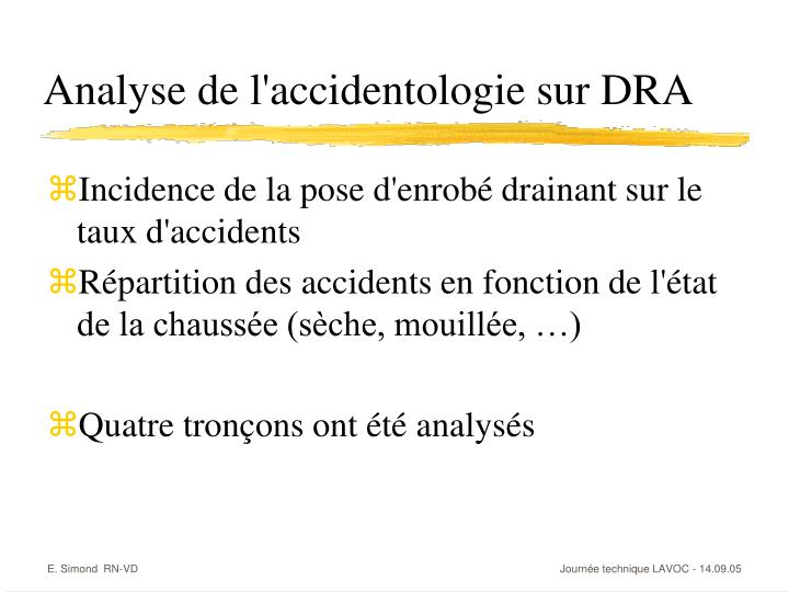 Analyse de l'accidentologie sur DRA
