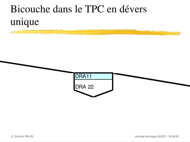 Bicouche dans le TPC en dévers unique