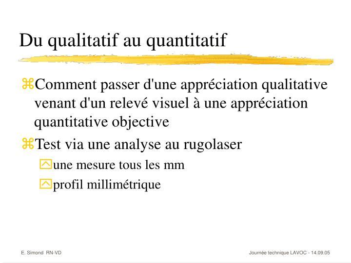 Du qualitatif au quantitatif