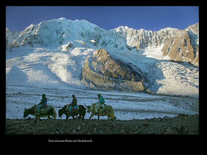 Drei einsame Reiter im Hindukusch