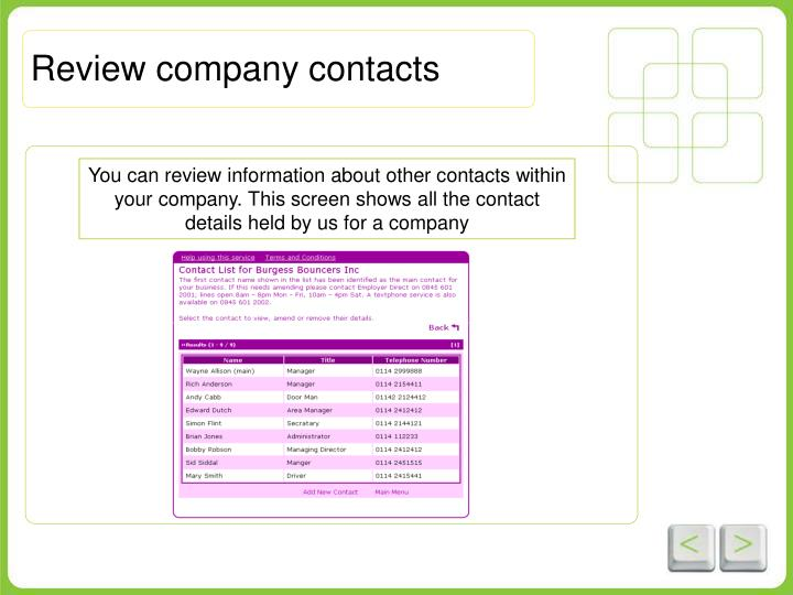 Review company contacts