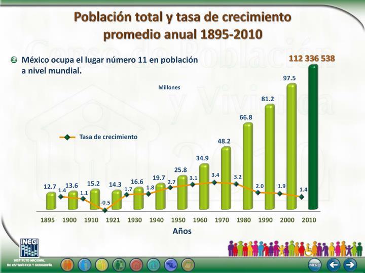 Población total y tasa de crecimiento
