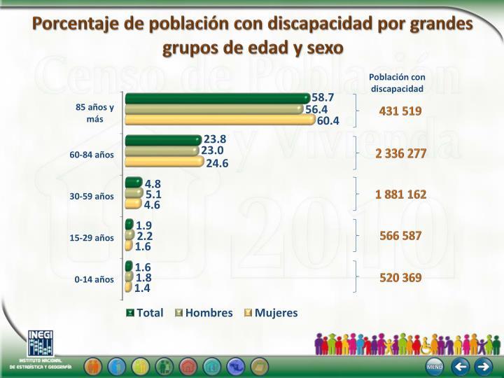 Porcentaje de población con discapacidad por grandes
