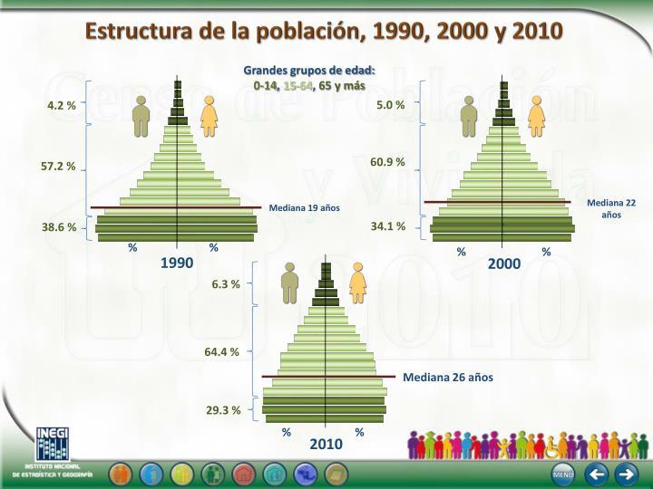 Estructura de la población, 1990, 2000 y 2010