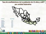 tasa de analfabetismo de la poblaci n de 15 a os y m s por entidad federativa