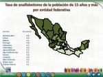 tasa de analfabetismo de la poblaci n de 15 a os y m s por entidad federativa2