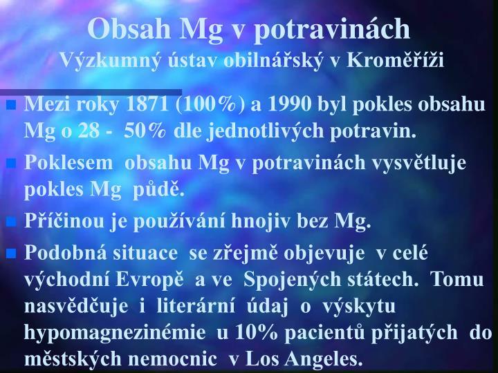 Obsah Mg v potravinách