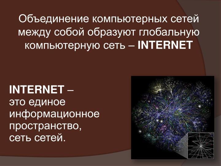 Объединение компьютерных сетей между собой образуют глобальную компьютерную сеть –