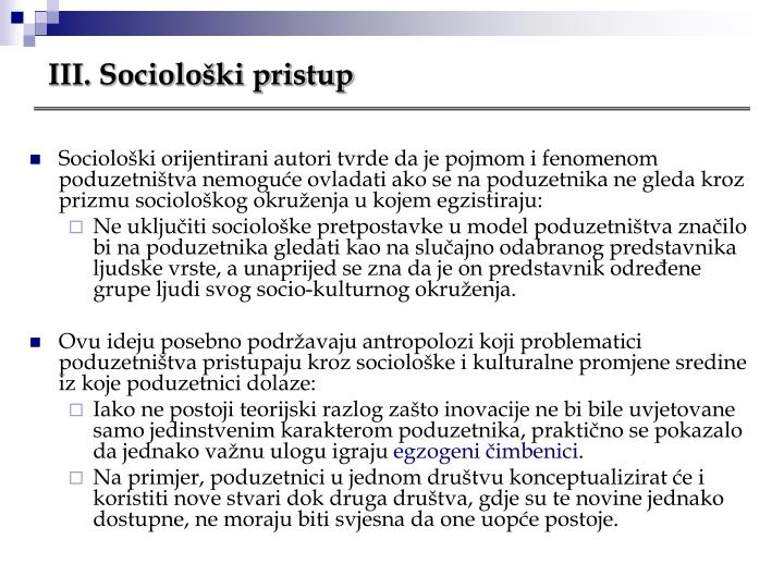III. Sociološki pristup