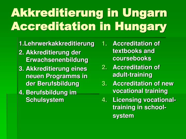 Akkreditierung in ungarn accreditation in hungary