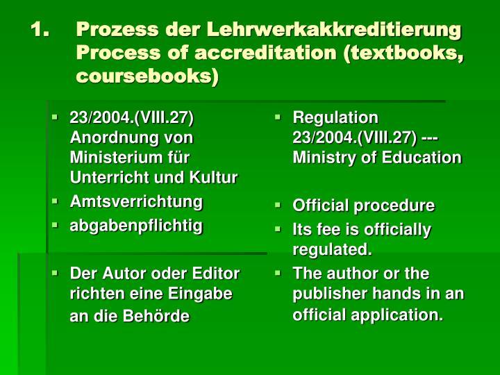 Prozess der lehrwerkakkreditierung process of accreditation textbooks coursebooks