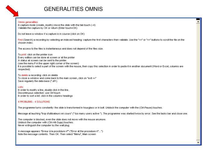 GENERALITIES OMNIS