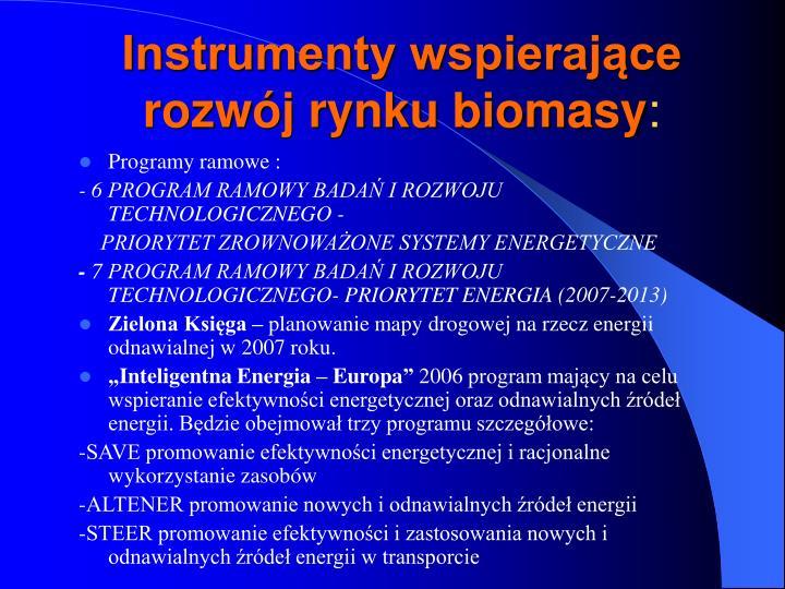 Instrumenty wspierające rozwój rynku biomasy