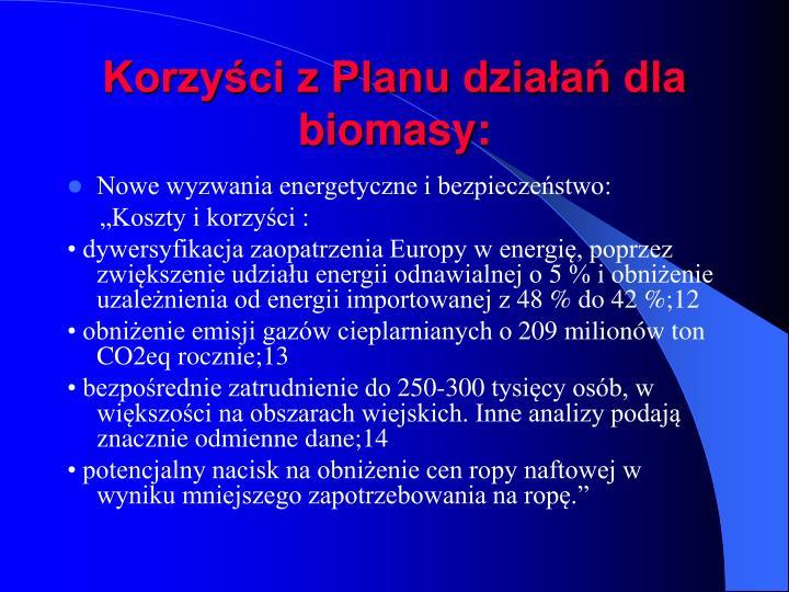 Korzyści z Planu działań dla biomasy:
