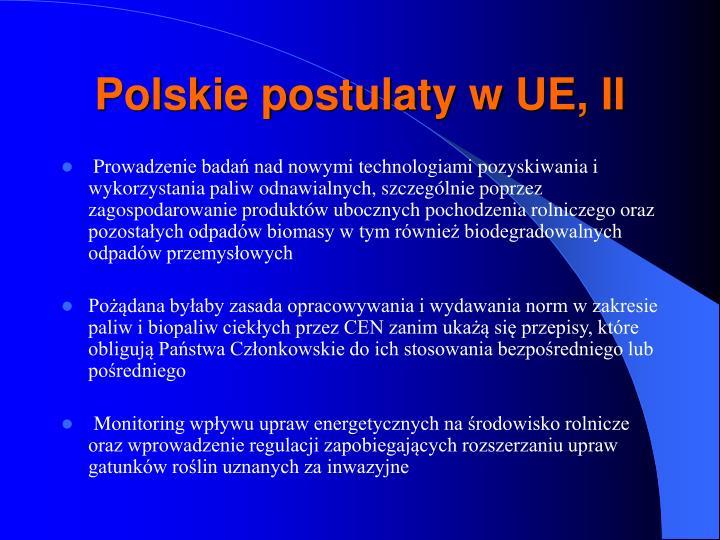 Polskie postulaty w UE, II
