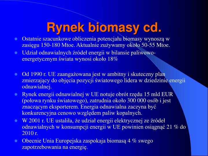 Rynek biomasy cd.