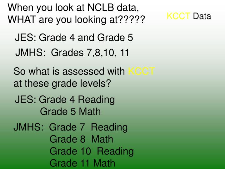 When you look at NCLB data,