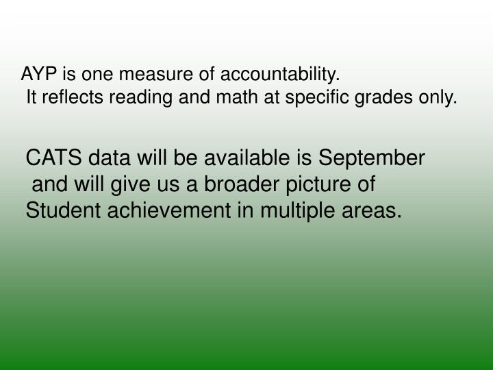 AYP is one measure of accountability.