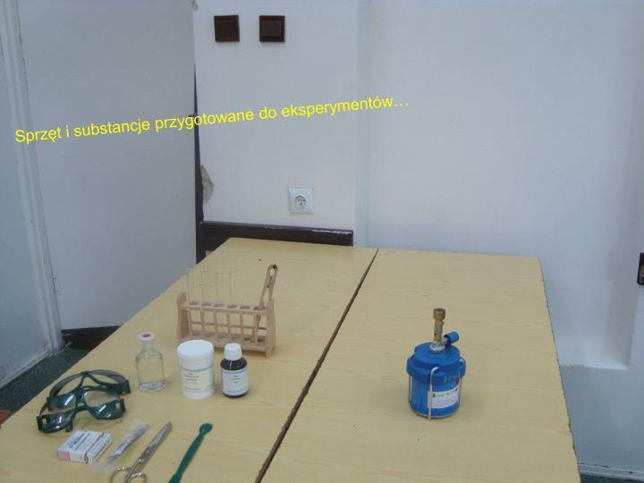 Sprzęt i substancje przygotowane do eksperymentów…