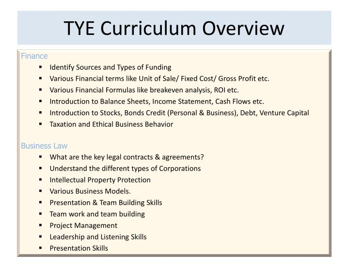 TYE Curriculum Overview