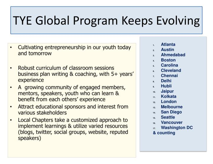 TYE Global Program Keeps Evolving