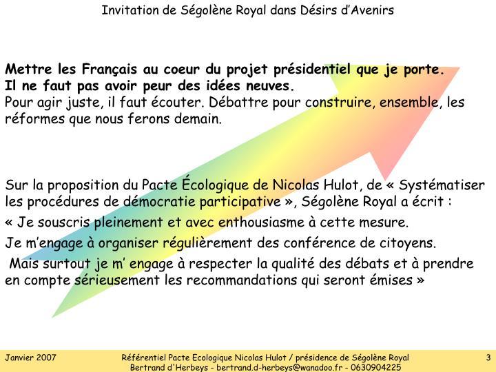 Invitation de Ségolène Royal dans Désirs d'Avenirs