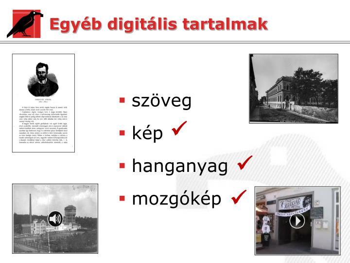 Egyéb digitális tartalmak