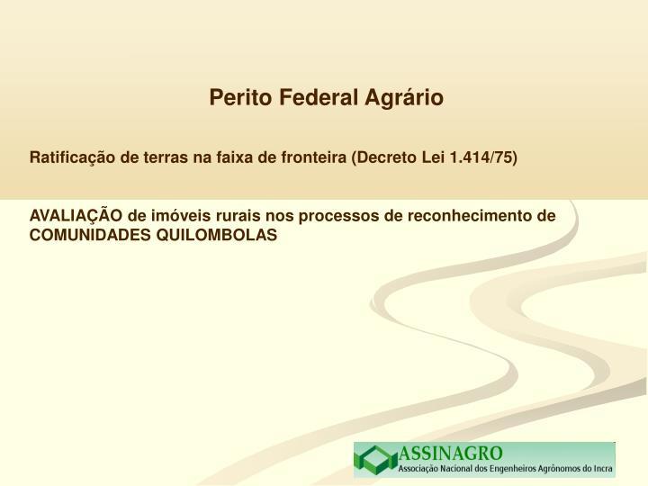 Perito Federal Agrário