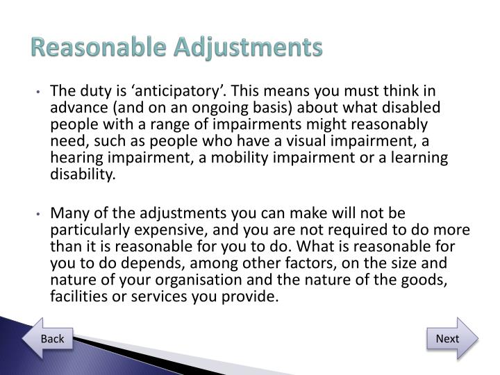 Reasonable Adjustments