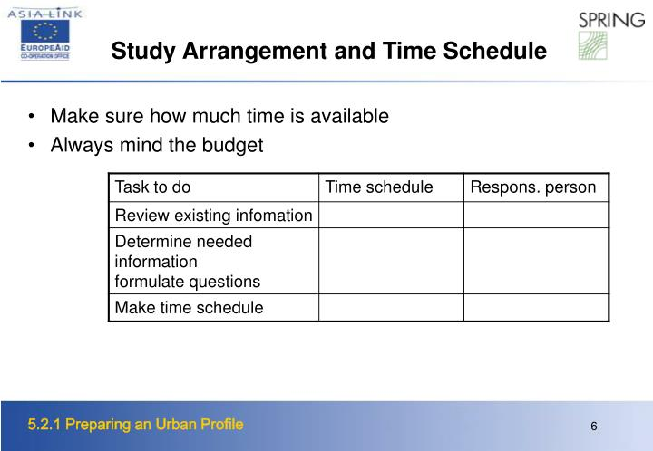 Study Arrangement and Time Schedule
