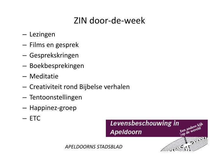 ZIN door-de-week