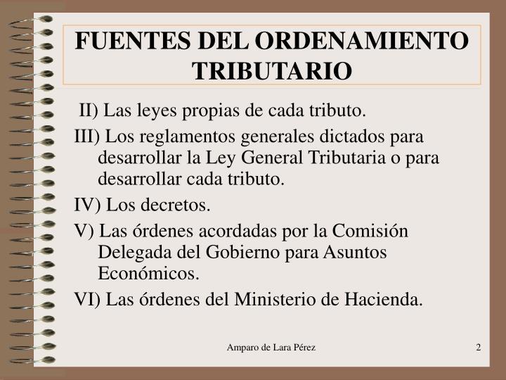 FUENTES DEL ORDENAMIENTO TRIBUTARIO