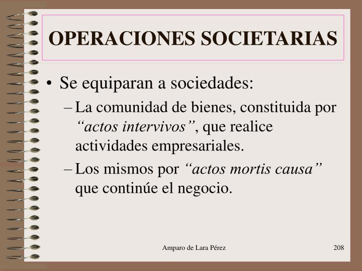 OPERACIONES SOCIETARIAS