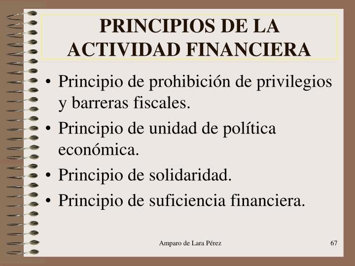 PRINCIPIOS DE LA ACTIVIDAD FINANCIERA