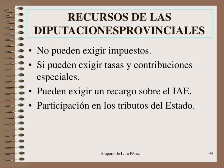 RECURSOS DE LAS DIPUTACIONESPROVINCIALES