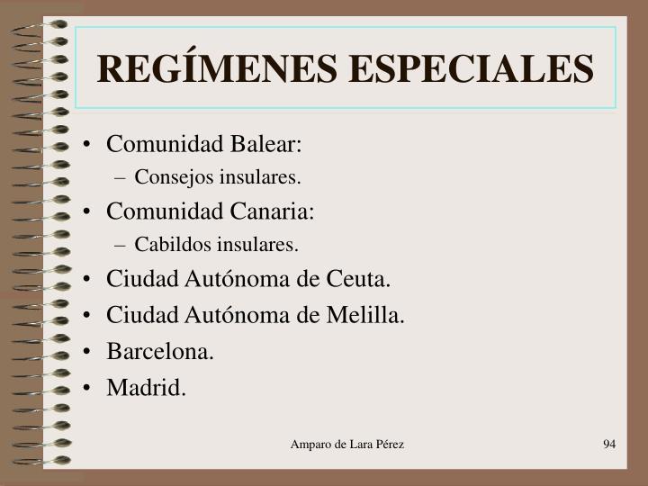 REGÍMENES ESPECIALES
