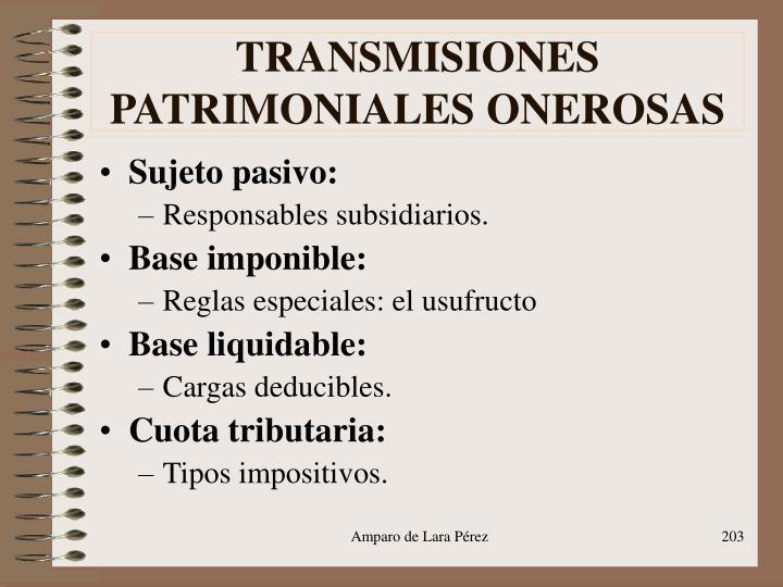 TRANSMISIONES PATRIMONIALES ONEROSAS