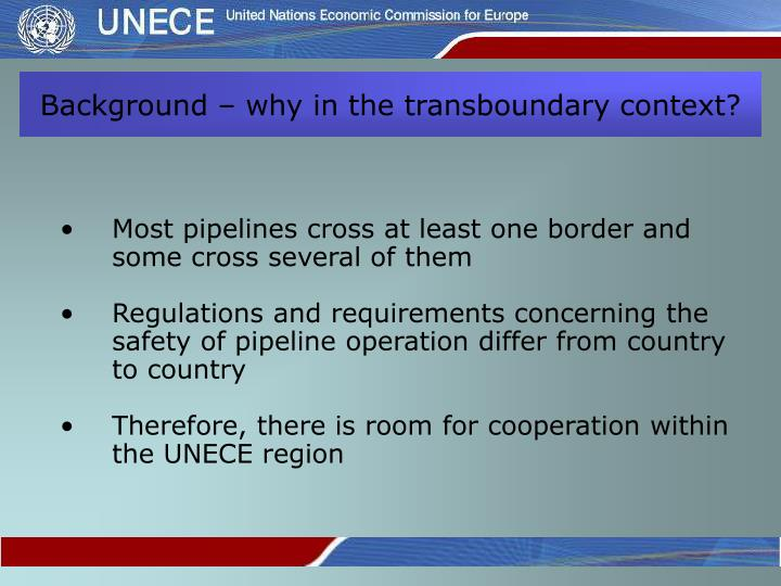 Background – why in the transboundary context?