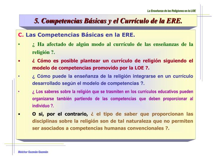 La Enseñanza de las Religiones en la LOE