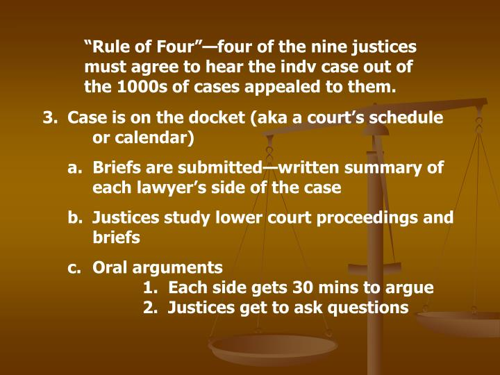 """Rule of Four""—four of the nine justices must agree to hear the indv case out of the 1000s of cases appealed to them."