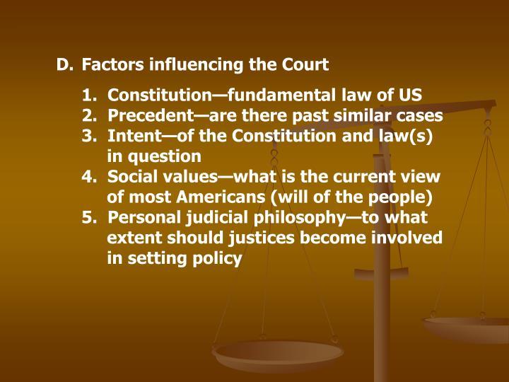 Factors influencing the Court