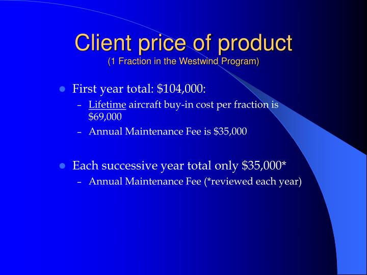 Client price of product