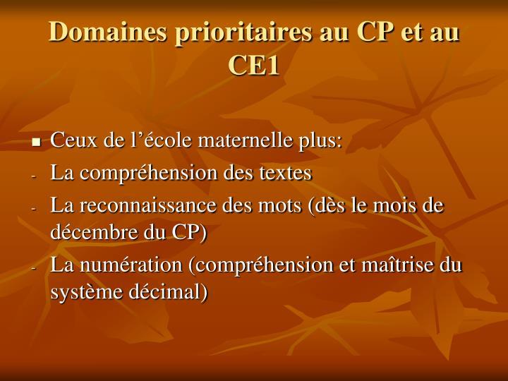 Domaines prioritaires au CP et au CE1
