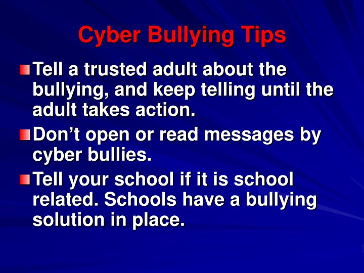Cyber Bullying Tips