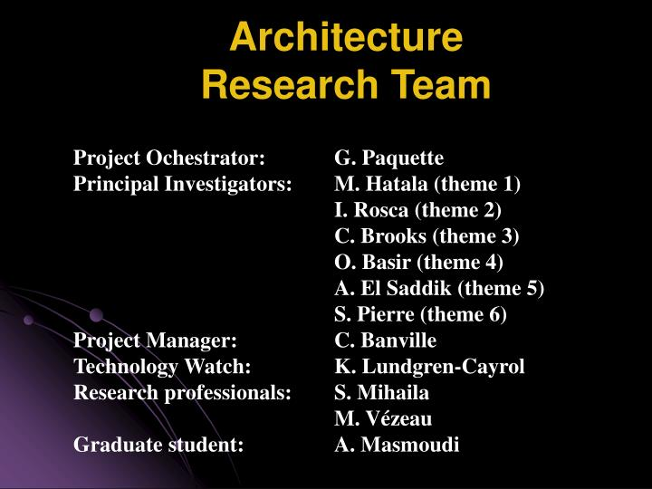 Architecture research team
