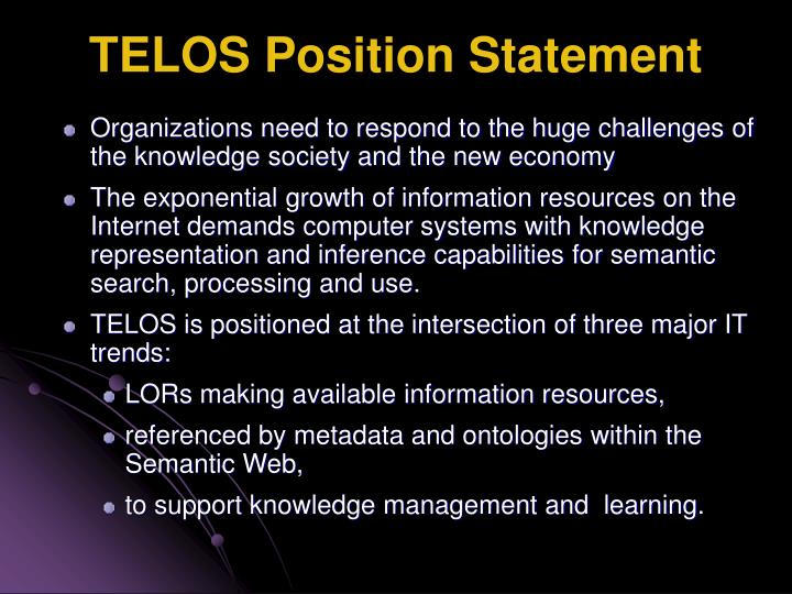 TELOS Position Statement
